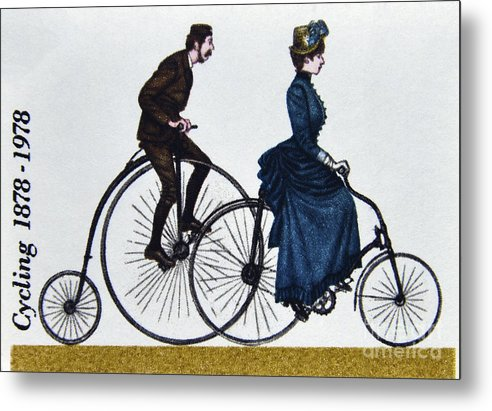 Artwork Postage Stamp. Great Britain. Queen Elizabeth Ii. 1978. Centenaries Cyclists Touring Club British Cycling Federation. Penny Farthing Safety Bicycle Metal Print featuring the photograph Cycling 1878-1978. by Stan Pritchard