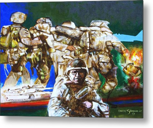 Military In Iraq Metal Print featuring the painting Med Evac Battle For Fallujah Iraq by Howard Stroman