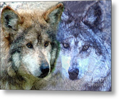Bbkexperi Metal Print featuring the digital art Wolves by Tom Romeo