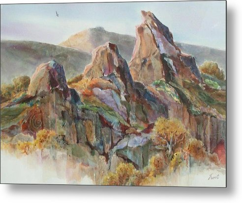 Landscape Mixed Media Metal Print featuring the painting Three Sisters by Don Trout