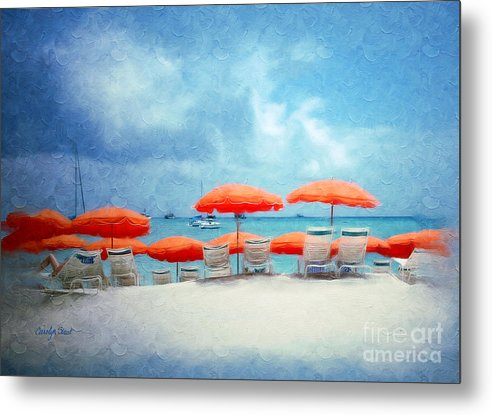 Beach Tropical Seascape Seaside Beach Art Metal Print featuring the painting A Bit Of Paradise by Carolyn Staut