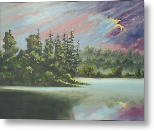 Landscape Metal Print featuring the painting After The Rain by Dennis Vebert