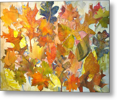 Autumn Metal Print featuring the mixed media Autumn Leaves by Joyce Kanyuk