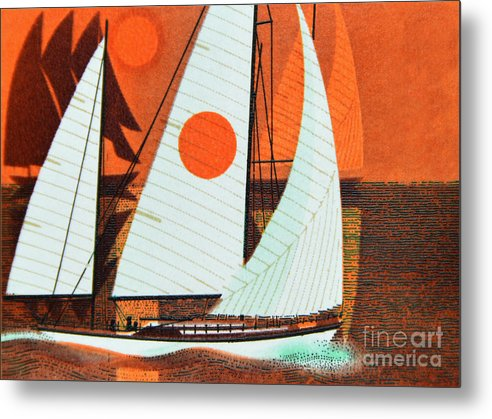 Postage Stamp. Great Britain. Queen Elizabeth Ii. 1975. Sailing. Cruising Yachts. 10p. Metal Print featuring the photograph Cruising Yachts. by Stan Pritchard