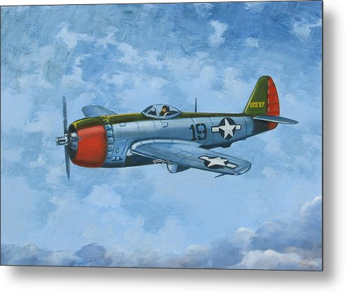 Airplanes Metal Print featuring the painting Thunderbolt by Murray McLeod