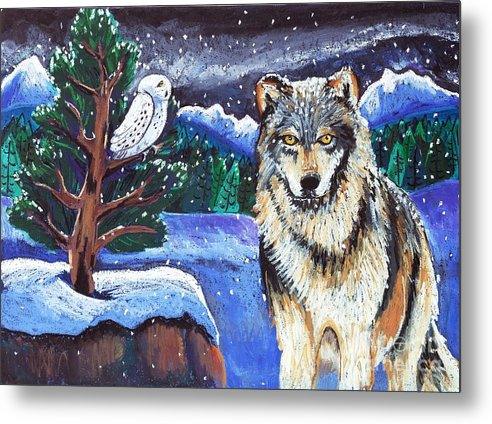 Wolf Metal Print featuring the painting Snowy Night Wolf by Harriet Peck Taylor