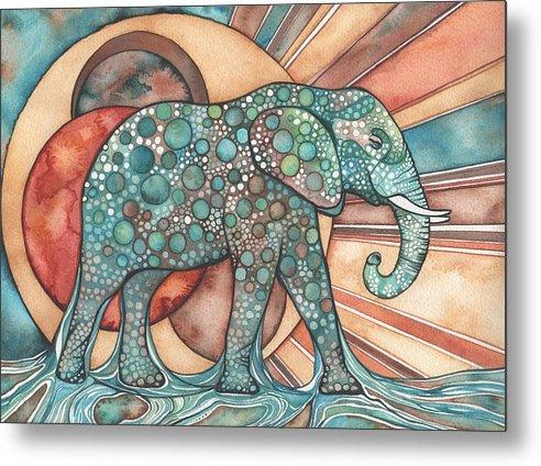 Elephant Metal Print featuring the painting Sunphant Sun Elephant by Tamara Phillips