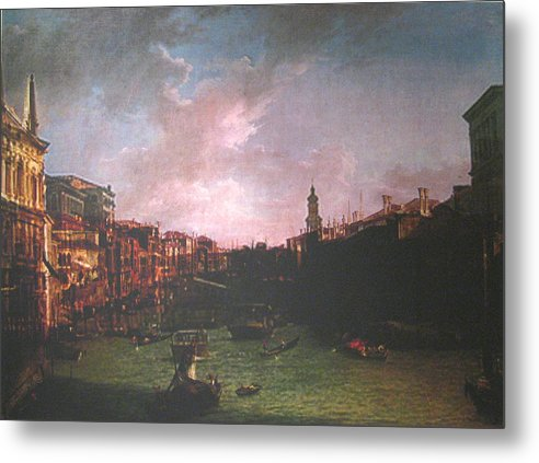 Landscape Metal Print featuring the painting After Canal Grande Looking Northeast by Hyper - Canaletto