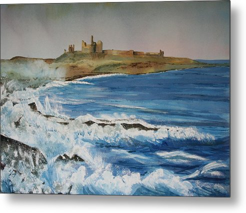 Castle. Seascape. Northumberland. England. Uk Metal Print featuring the painting Dunstanburgh Castle by John Cox