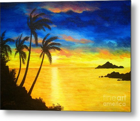 Seascape Metal Print featuring the painting Island Viewing by Shasta Eone