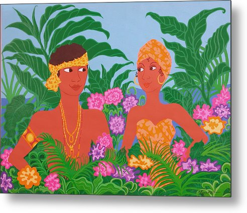 Tropicial Painting Metal Print featuring the painting Tropical Flirtation by Susan Rinehart