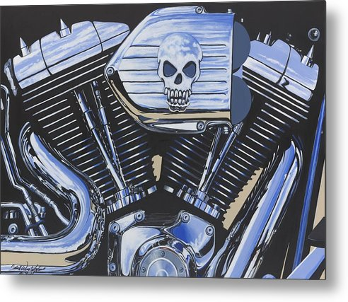 Harley Davidson Motorcycle Metal Print featuring the painting Clear To Partly Cloudy by John Westerhold