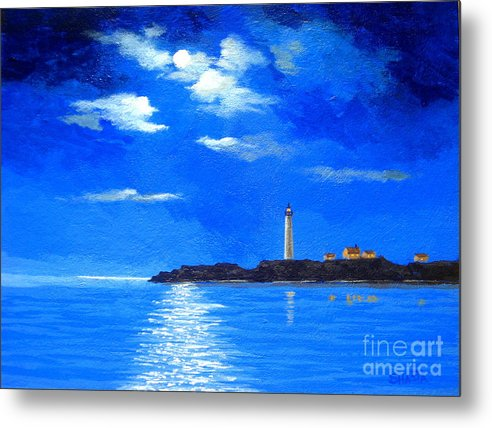 Seascape Metal Print featuring the painting Light Keeper by Shasta Eone