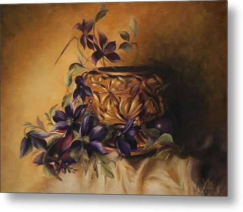 Still Life Metal Print featuring the painting Purple Clematis by Michelle Kerr