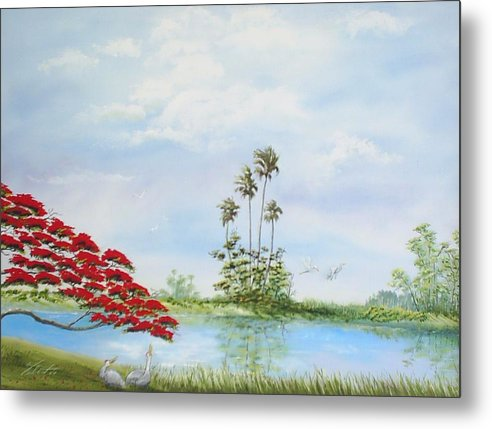 Landscape Metal Print featuring the painting Red Tree by Dennis Vebert