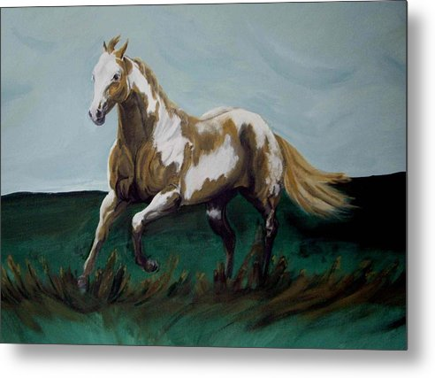 Horse Metal Print featuring the painting Running Paint by Glenda Smith