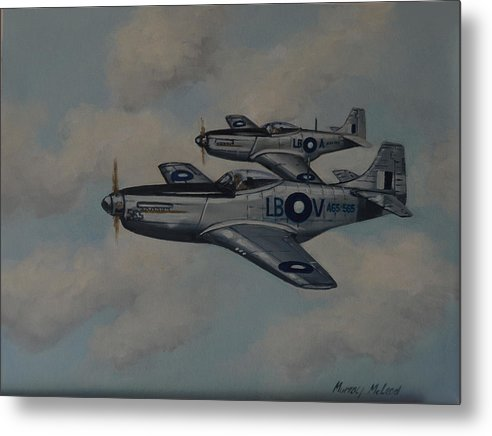 Aviation Art Metal Print featuring the painting Mustang Duo by Murray McLeod