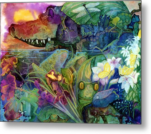 Aligator Metal Print featuring the painting Bayou Magic by Valerie Aune