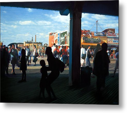 Coney Island Metal Print featuring the painting Coney Island Stroll by Randy Ford