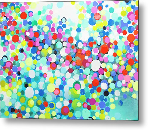 Abstract Metal Print featuring the painting Just Let It by Claire Desjardins