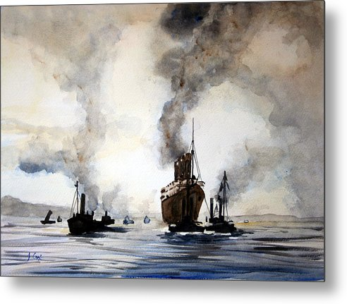 Mauritania. Seascape. Ship. Metal Print featuring the painting Mauritania Leaving River Tyne 1907. by John Cox