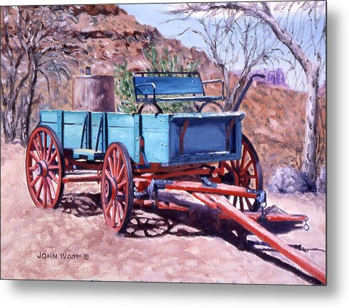 Navajo Indian Southwestern Monument Valley Wagons Metal Print featuring the painting Navajo Suv by John Watt
