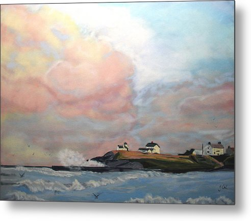 Seascape Metal Print featuring the painting Seaton Sluice. by John Cox
