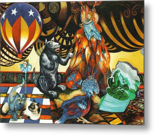 Cats Metal Print featuring the painting still life with Balloon by Christine McGinnis