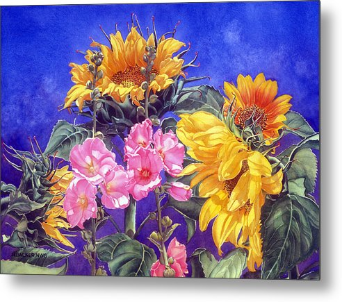 Floral Metal Print featuring the print Sunseekers by Mary Backer