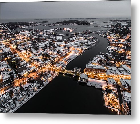 Winter Metal Print featuring the photograph Winter Twilight In Mystic Connecticut by Petr Hejl