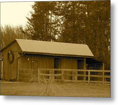 Metal Print featuring the photograph Horse Barn by Frank Conrad