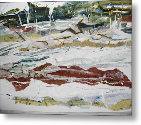 Seascape Metal Print featuring the painting Along The Shore by Linda King