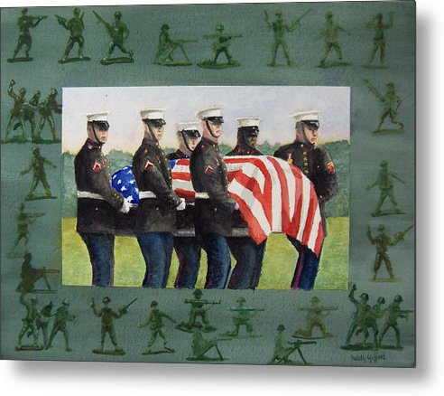Honor Guard Metal Print featuring the painting Army Men by Haldy Gifford