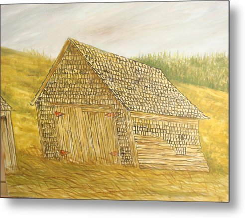 Barn Metal Print featuring the painting Leaning In by Norman F Jackson