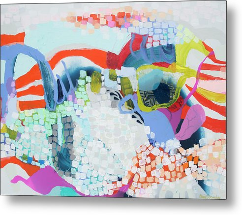 Abstract Metal Print featuring the painting Make Some Noise by Claire Desjardins
