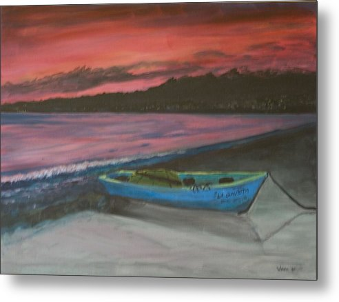 Seascape Metal Print featuring the painting Sunset Reflections by Anita Wann
