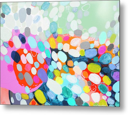Abstract Metal Print featuring the painting Flushed by Claire Desjardins