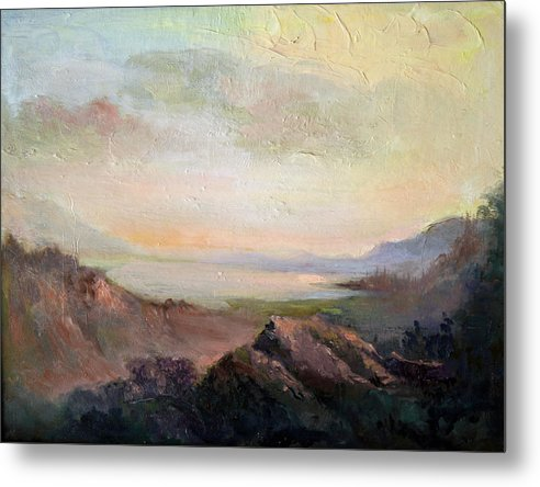 Landscape Metal Print featuring the painting Silverlake Ca by Benjamin Johnson