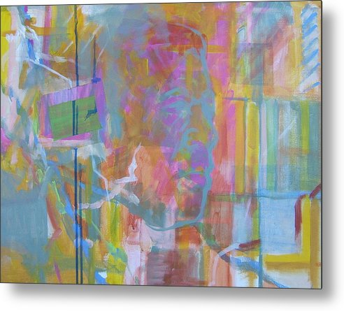 Abstract; Colors; Acrylic Composition; Canvas Panel Painting; Abstract Portrait Metal Print featuring the painting Casual Male In Minor by Howard Stroman