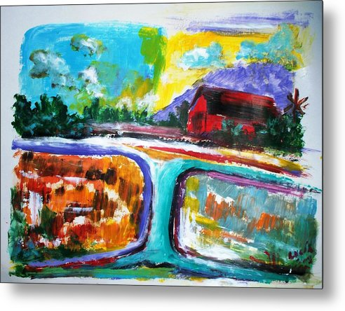 Abstract. Lamdscape.barns Metal Print featuring the print Country Mile by Carl Lucia