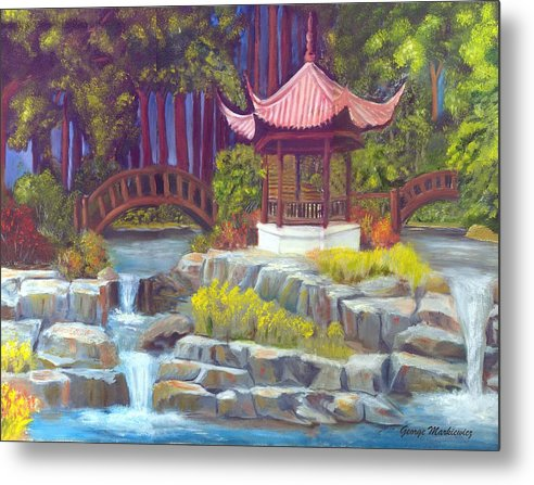 Gazebo Landscape Metal Print featuring the print Peppermint Gazebp by George Markiewicz