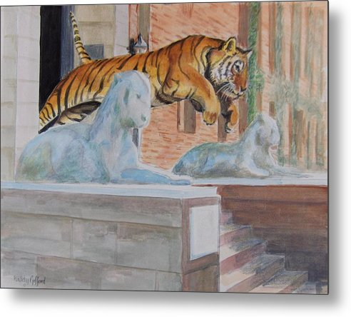 Priceton Tiger Metal Print featuring the painting Princeton Tiger by Haldy Gifford