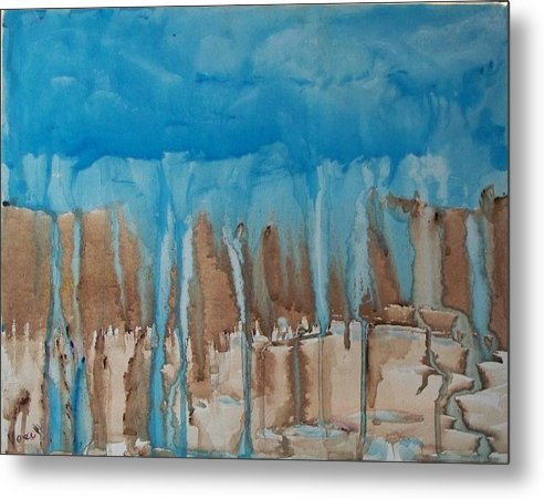 Abstract Metal Print featuring the painting Desert Storm by Larry Verch