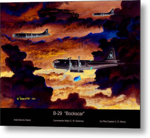Aviation Art Of World War 11-airplane Art Metal Print featuring the painting B-29 Bockscar by Dennis Vebert