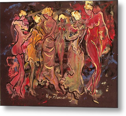 Figurative Metal Print featuring the painting Behind The Stage by Olga Gernovski