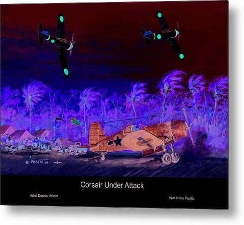 Aviation Art Metal Print featuring the painting Corsair At The Ready by Dennis Vebert
