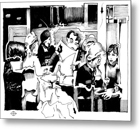 Paris Cafe Scene Metal Print featuring the drawing Gervex Paris Cafe by Gary Peterson