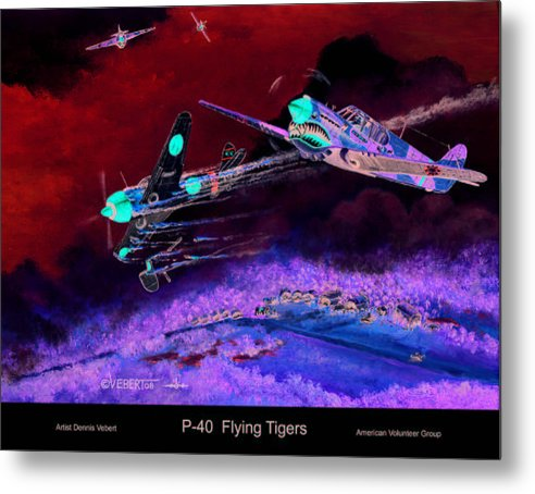 World War Ii Metal Print featuring the painting P-40 Flying Tigers by Dennis Vebert