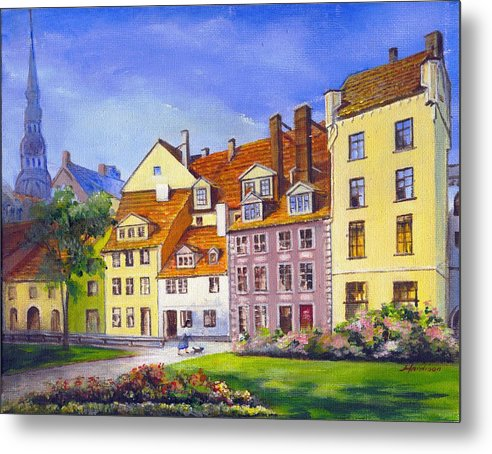 City Scape Metal Print featuring the painting Riga Latvia by Robynne Hardison