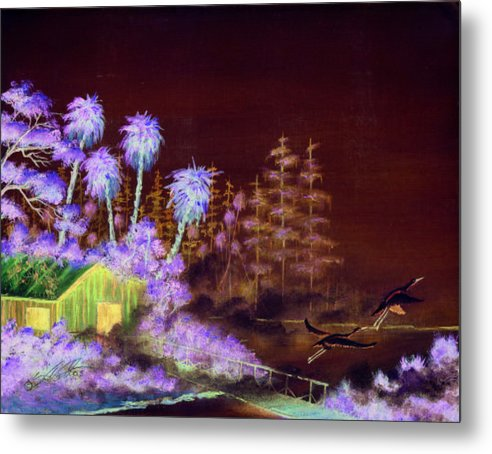 Landscape Metal Print featuring the painting Shack In A Swamp by Dennis Vebert
